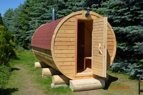 sauna w kształcie beczki